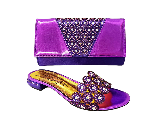 Fiorella, purple laser-cut low wedding sandals and matching bag set