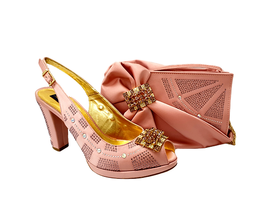 Emma, MaryShoes blush mid-height wedding shoes and matching bag set