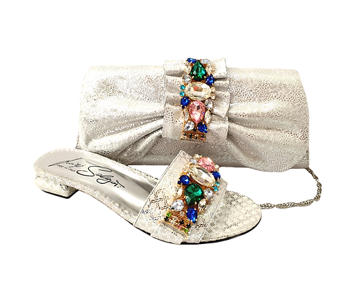 Valerie,  jewel embellished silver low wedding sandals and matching bag
