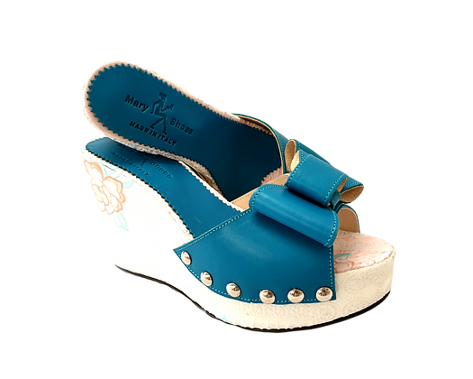 Beatrice, Mary Shoes turquoise floral wedges