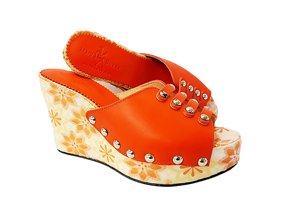 Blossom, Mary Shoes orange floral wedge