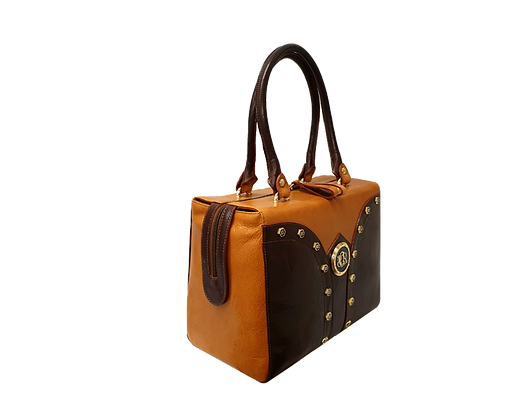 Shapes, Cerruti mid-shaped brown and camel leather tote bag