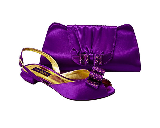 Ava, Mary Shoes purple very low wedding shoes and matching bag