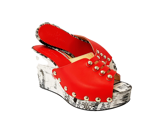 Blossom, Mary Shoes red floral wedge