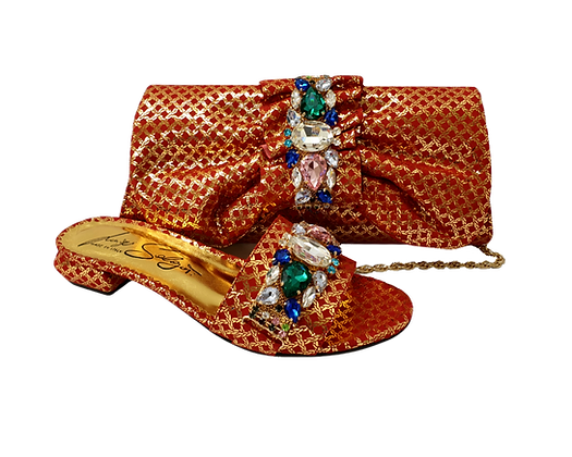 Valerie, jewel embellished red-gold low wedding sandals and matching bag