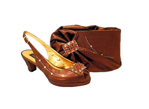 Emma, brown low heel wedding shoes and matching bag set