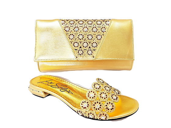 Fiorella, gold laser-cut low wedding sandals and matching bag