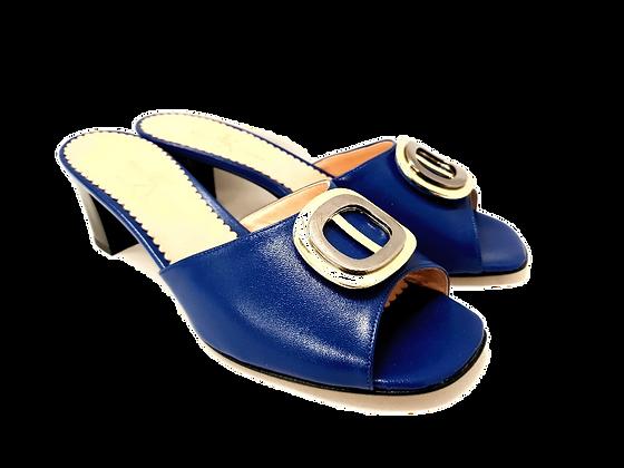 Olivia, blue mid block heel sandals