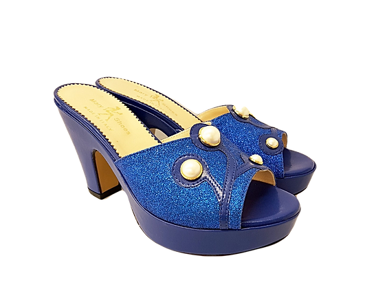 Blue Mary Shoes pearl platform sandals
