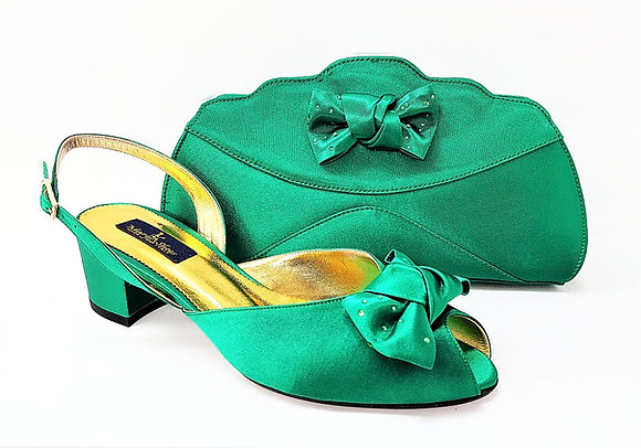 Verona, Mary Shoes green low chunky heel wedding set