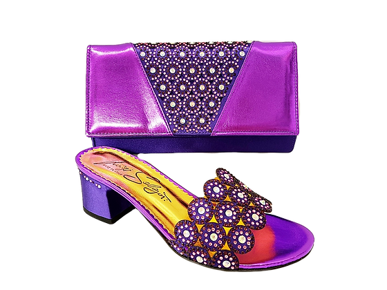 Fiorella, purple laser-cut mid-height wedding sandals and matching bag