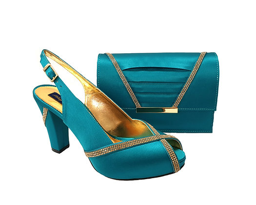 Lucia, teal Mary Shoes mid-height platform shoes and matching bag set