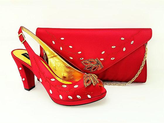 Fleur, Mary Shoes burgundy crystal-adorned mid-height platform wedding set