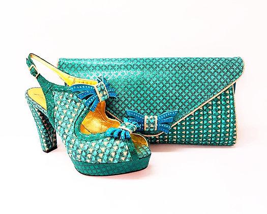Salgati teal-aqua butterfly threaded high heel platform shoes and bag set
