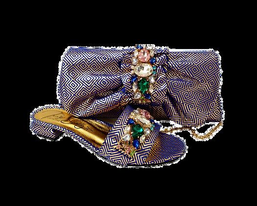 Valerie, jewel embellished blue-gold low wedding sandals and matching bag