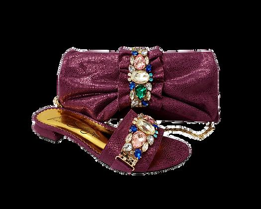 Valerie, jewel embellished magenta low wedding sandals and matching bag