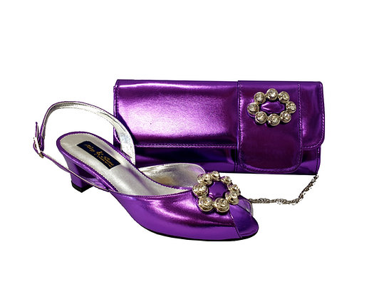 Francesca, Mary Shoes purple low heel wedding shoes and matching bag set