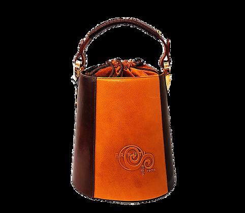 Cerruti brown and camel Leather Bucket Handbag