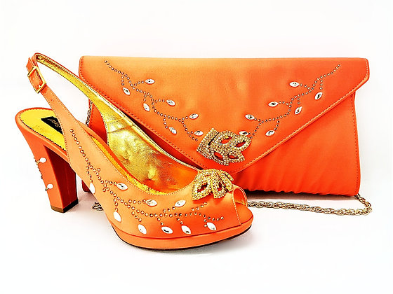 Fleur, Mary Shoes peach crystal-adorned mid-height platform wedding set