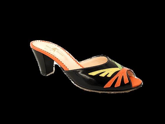 Alison, black multicolour mid block heel sandals