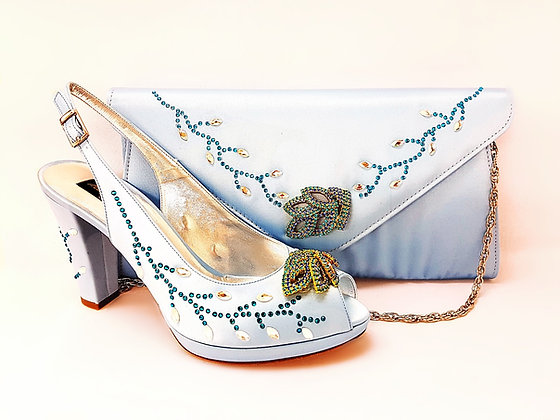Fleur, Mary Shoes sky-blue crystal-adorned mid-height platform wedding set