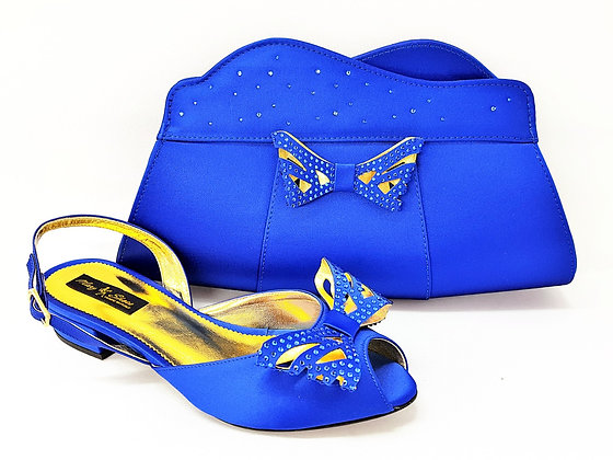 Stella, Mary Shoes blue very low heel wedding shoes and bag set