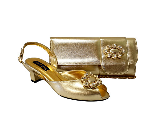 Francesca, Mary Shoes gold low heel wedding shoes and matching bag set