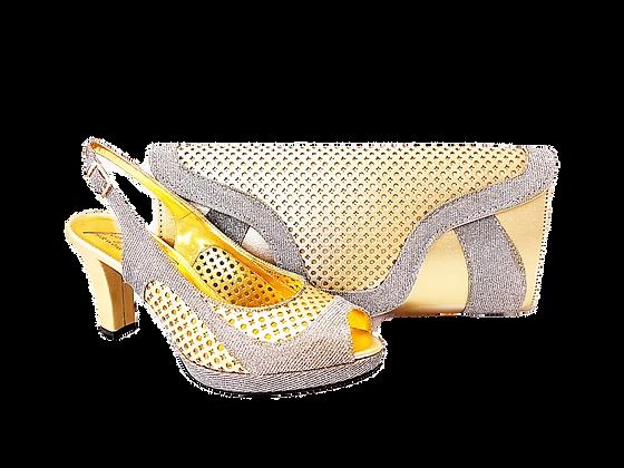 Minna, Salgati gold laser-cut mid-height wedding set