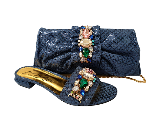 Valerie, jewel embellished navy-blue low wedding sandals and matching bag