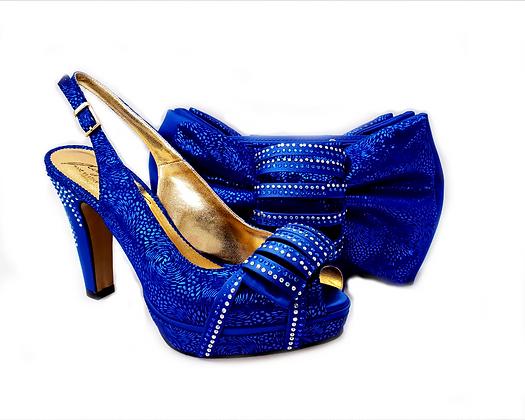 Iris, Salgati blue wedding shoes and matching bag set