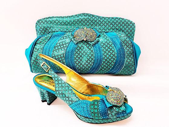 Florence, Salgati teal low heel platform wedding shoes and bag set