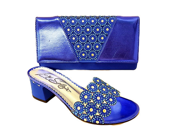 Fiorella blue laser-cut mid-height sandals and matching bag
