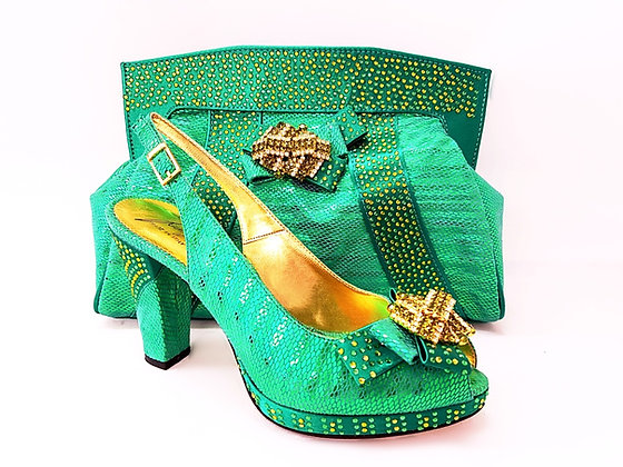 Sharon, Salgati green mid-height platform shoes and bag set