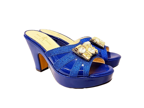 Blue Mary Shoes wet-look platform sandals