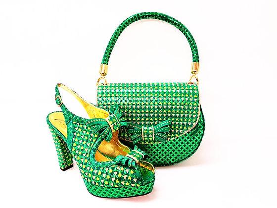 Salgati green-lemon butterfly threaded high heel platform shoes and bag set