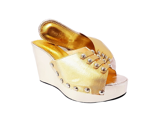 Blossom, Mary Shoes champagne gold floral wedge