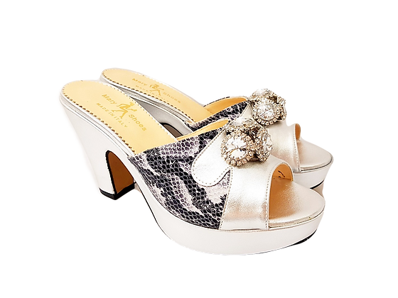 Silver Mary Shoes croc-effect leather sandals