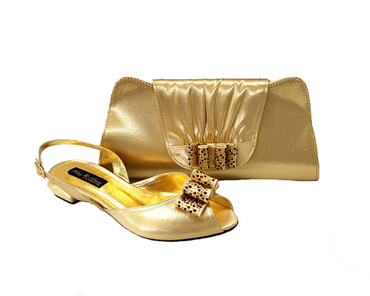 Ava, Mary Shoes gold very low wedding shoes and matching bag