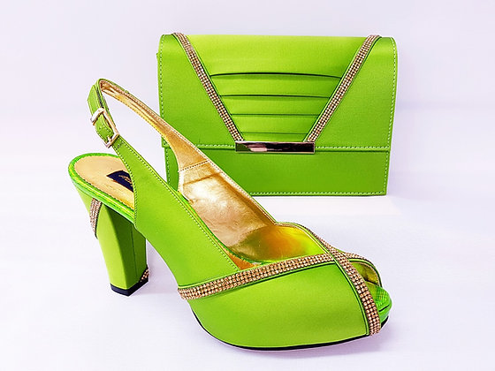 Lucia, lemon Mary Shoes mid-height platform shoes and matching bag set