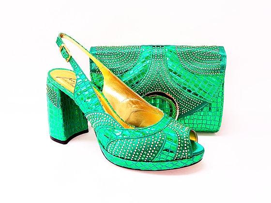 Lizzy, Salgati green block heel wedding shoes and bag set