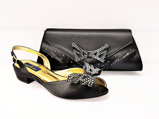 Stella, Mary Shoes black very low heel wedding shoes and bag set