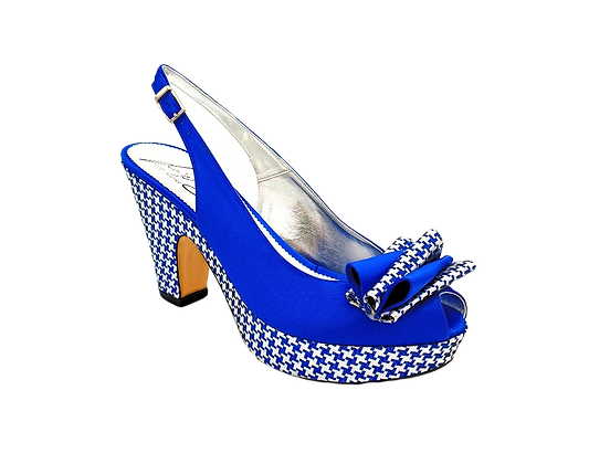 Tina, trendy chess platform wedges in royal-blue