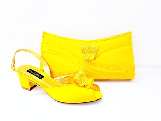 Poppy, yellow Mary Shoes low chunky heel wedding shoes and bag set