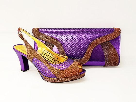 Minna, Salgati purple laser-cut mid-height wedding set