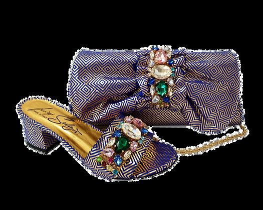 Valerie,  jewel embellished blue-gold wedding sandals and matching bag