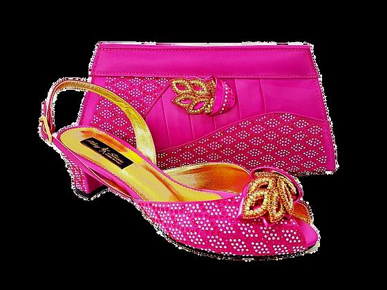 Chiara, pink stone adorned low heel wedding shoes and bag