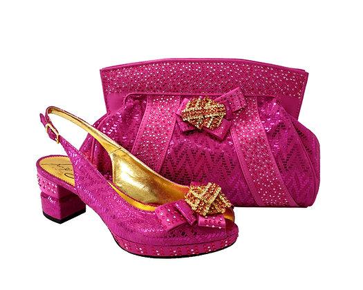 Sharon, Salgati pink low heel wedding shoes and matching bag set