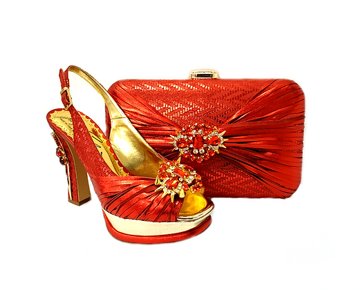 Vogue, Salgati red wedding party shoes and bag set