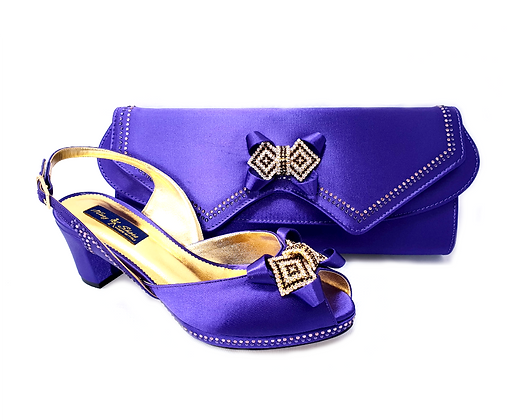 Elaine, Mary Shoes purple low heel wedding shoes and matching bag set