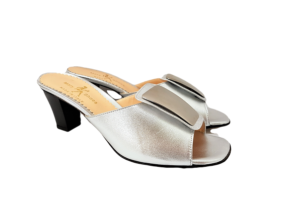 Leyla silver mid-height leather sandals